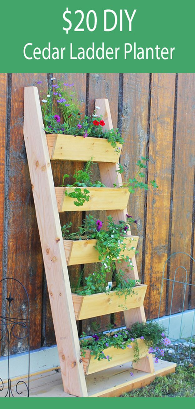 Easy Cheap Cedar Ladder Planter | Cheap DIY Backyard Furniture by DIY Ready at diyready.com/diy-projects-backyard-furniture/