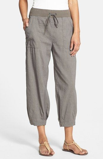 Eileen Fisher Stretch Linen Capri Pants  Womens Taupe