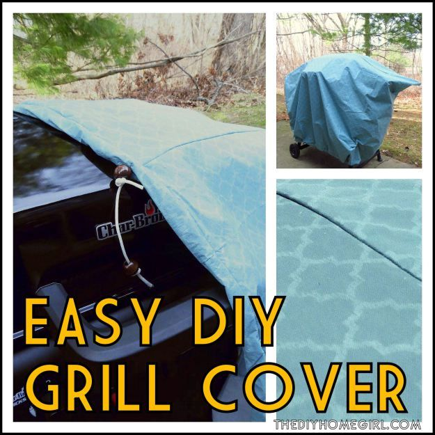 The DIY Homegirl Easy DIY grill cover tutorial sewing drawstring protection quadrefoil aqua vinyl tablecloths