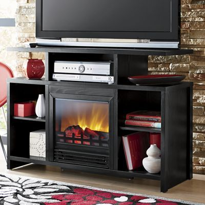 Electric Fireplace Media Center Rustic Country