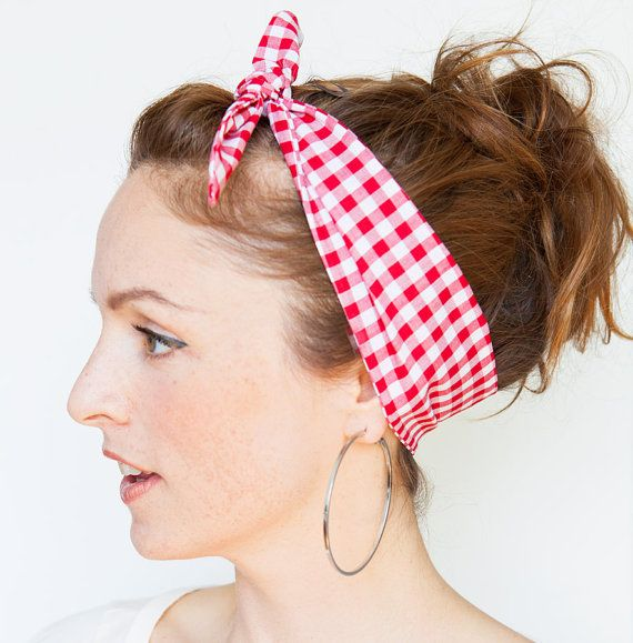 Red Gingham Headband  Red Dolly Bow  Red Pinup by MinitaStudio