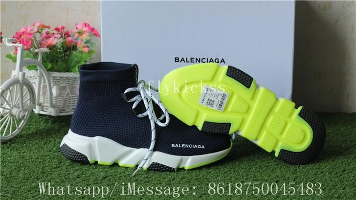 Balenciaga Lace Up Knit Sock Speed Trainer Navy Blue Neon Green