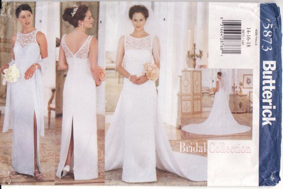 Wedding dress pattern butterick 5873 bridal gown with for Butterick wedding dress patterns