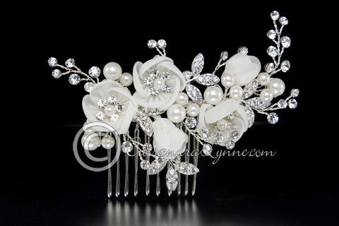 Bridal Hair Comb of Ivory Organza Flowers & Pearls