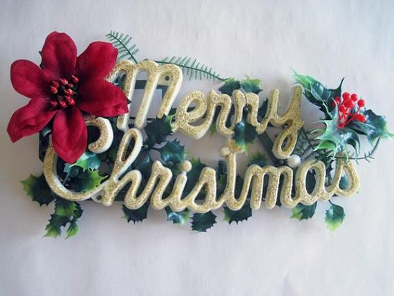 Vintage Merry Christmas Plastic Sign Kitschy Door Hanger 1960s Wall Ornament Decoration Holly Gold Glitter Poinsettia Merry Christmas Sign Christmas Signs