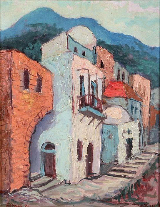 I feel that the muted colours give the feeling of solitude and peacefulness. Artist: Zvi Ehrman (1903-1993); Title: Street Scene; Medium: Oil on canvas laid on board.