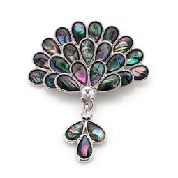 Mother of Pearl Brooch with Peacock Flower Design