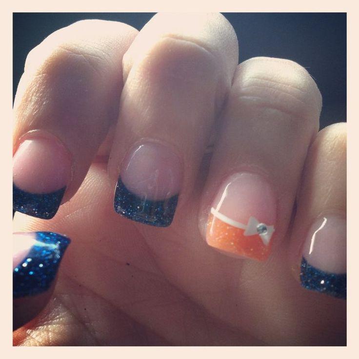Cute nails for Denver Broncos