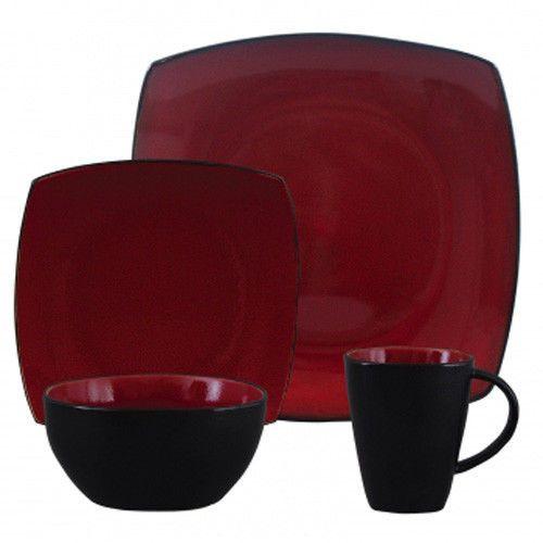 Soho Lounge Square 16-piece Dinnerware Set, Red #Gibson