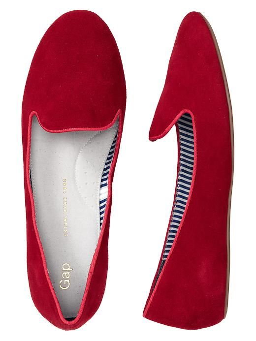 Gap Suede Loafers. I like solid red flats a lot.