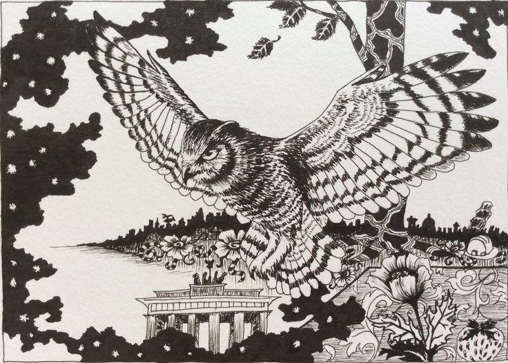 """Owle / ugle, """"Life """" drawn by artist Kirstine Wistrup"""