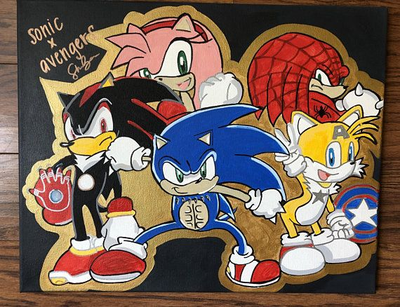Sonic The Hedgehog And Friends X Avengers 16x20 Acrylic Painted Canvas Comic Art Character Art Cartoon Ar Cartoon Artwork Character Art Custom Artwork