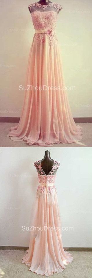 $139--Evening Dresses Sheer Neck Flower Appliques Chiffon Floor Length Sash Sleeveless Elegant Prom Dresses from Suzhoudress.com