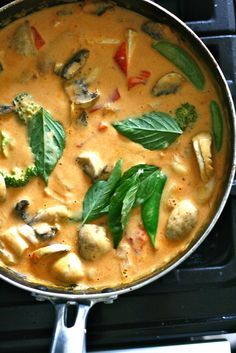 Panang Curry. Substitute Aroy-D or Mae Anong Panang Curry Paste with Red Curry Paste and Tofu with Chicken.
