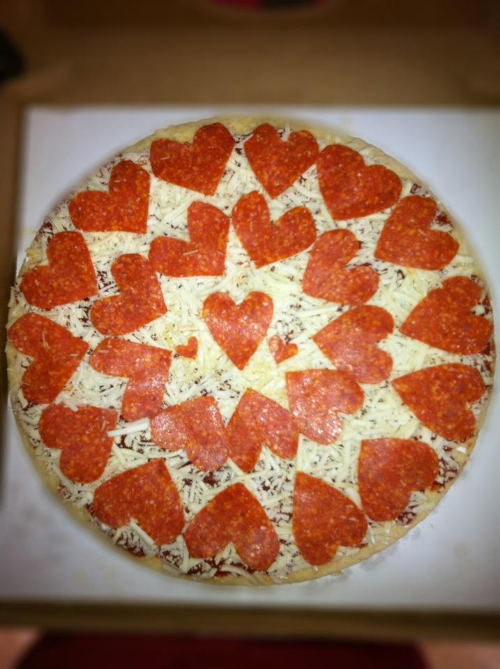 Valentine's Day Heart Pizza (take n bake costco pizza meets my scissors).   Pepperoni never looked so good.