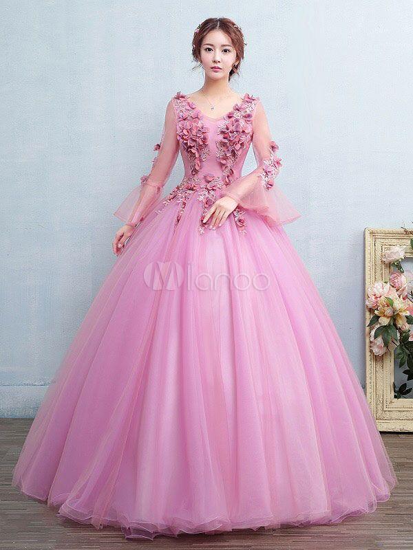0598b075f Vestido para quinceañeras Rosa púrpura con cuello en V con manga larga con  aplicación - Milanoo.com