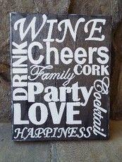 Hand painted wood Wine Art #wineparty