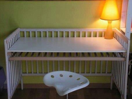 que faire avec le lit de b b un bureau. Black Bedroom Furniture Sets. Home Design Ideas