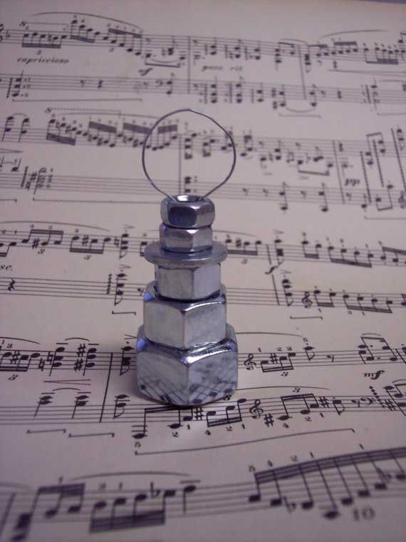 nuts and bolts snowman ornament