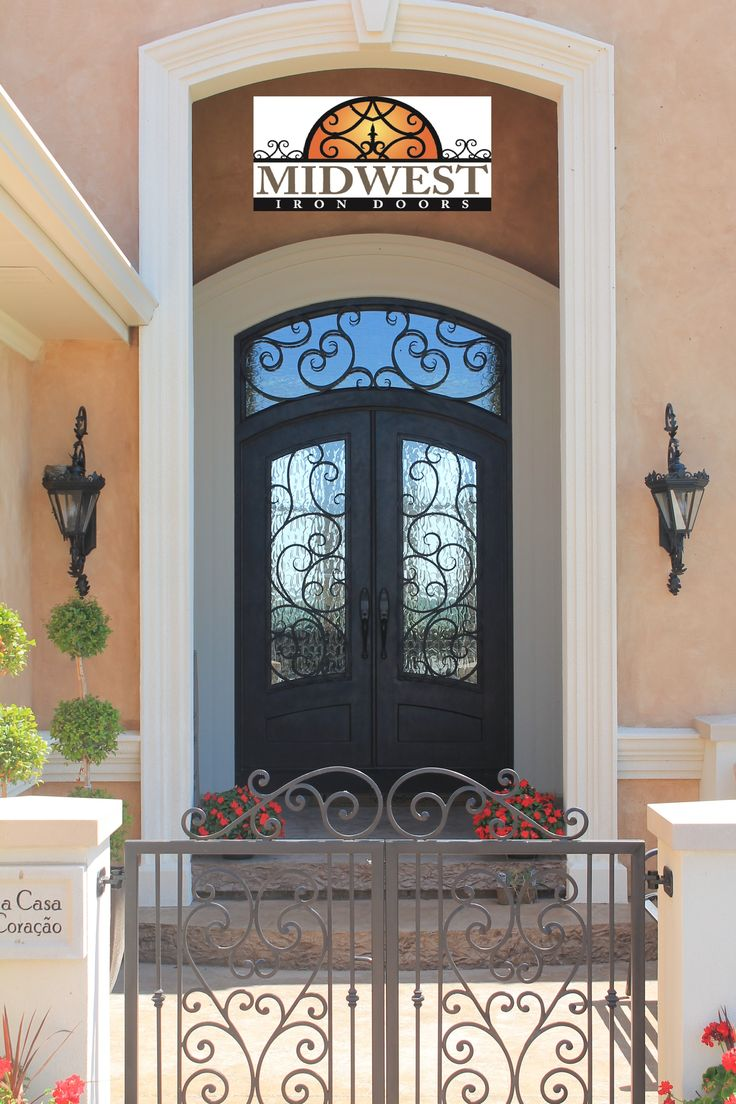 3/4 Lite Top Arch Top Double Iron Door with Transom 72 x96  & 9 best Iron Doors images on Pinterest   Iron doors Irons and ... pezcame.com