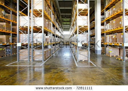 stock photo : Boxes in modern logistic distribution warehouse interior