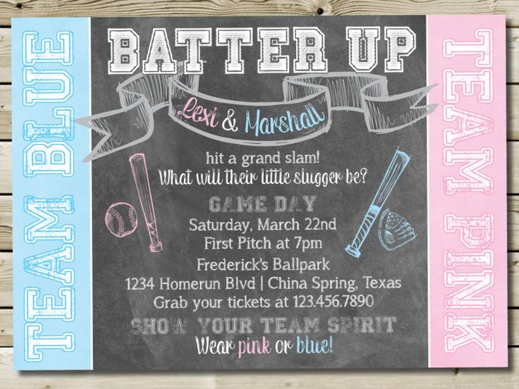 baseball gender reveal invitation baby shower invitation color chalkboard theme baby gender reveal invitation 5x7 digital printable - Gender Reveal Baby Shower