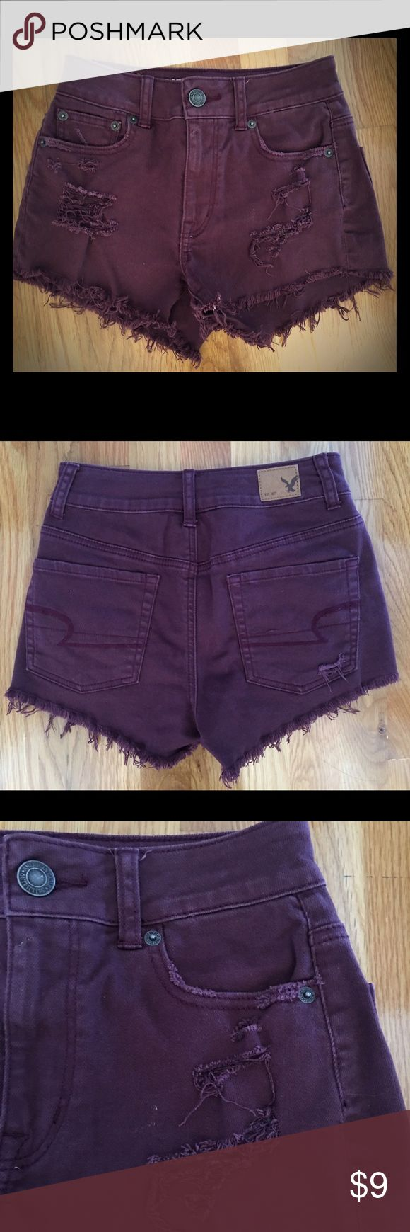 American Eagle Burgundy Shorts Sz 0 American Eagle Outfitters burgundy stretch shorts size 0. Factory made destruction on front and back. Only worn a few times. They are in good condition and were kept in a smoke free home. American Eagle Outfitters Shorts