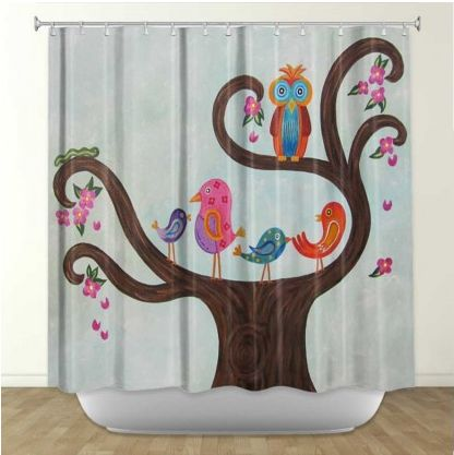 DiaNoche Designs Tree Party III By Gwen Meades Fabric Shower Curtain