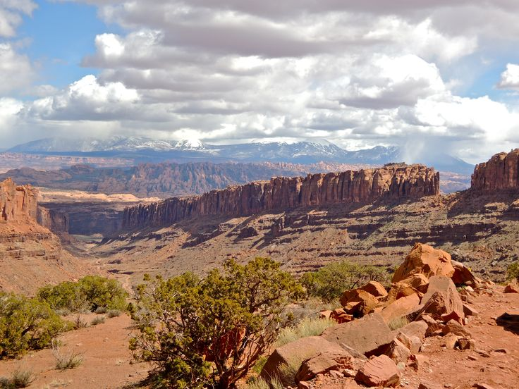 This magnificent scenery is looking back toward the area we just rode, from Long's Canyon Road, outside of Moab, Utah.  We traveled with our dual-sport bikes and they took us to amazing places!  In the far distance are the La Sal Mountains.