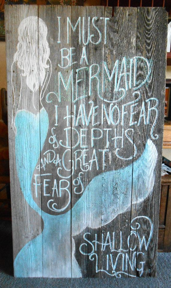 New Barnwood Mermaid Sign Hand Painted Original by tawnystreasures, beach painting $145.00