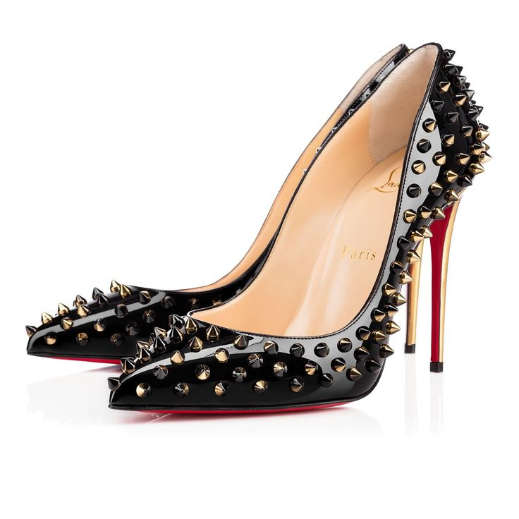 Christian Louboutin Follies Spikes 100 mm Black Patent Leather