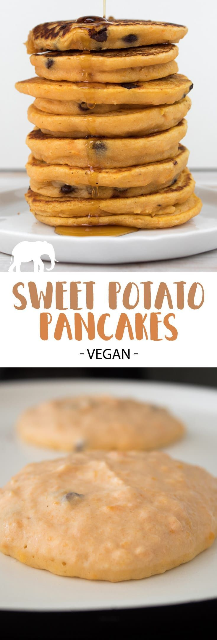 Recipe for delicious, fluffy Vegan Sweet Potato Pancakes with chocolate chips. No eggs. No dairy. It's the perfect fall breakfast! | ElephantasticVega...