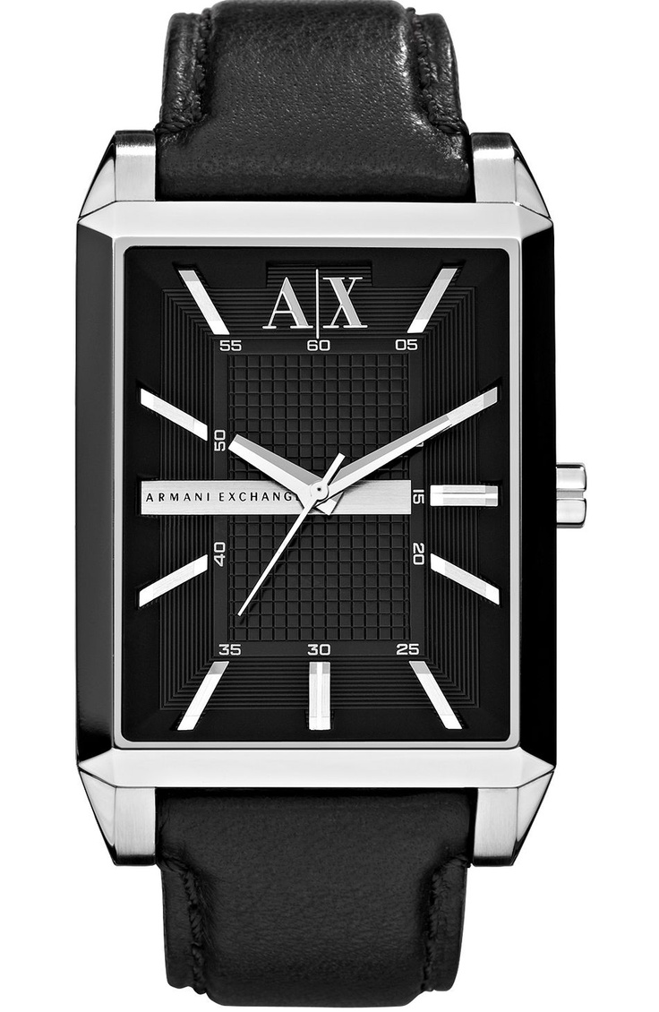 Armani exchange black leather gloves - Classic Black Leather Strap Watch Accessories Shop Mens Armani Exchange