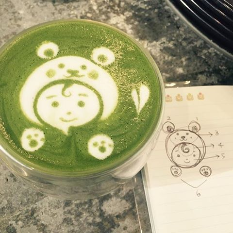 If only  if only I have talent of @_record0511 about matcha art designs  I would definitely make a lot of matcha latte art in a cafe  Cheers to all baristas! Checkout @kenkotea for high quality matcha!