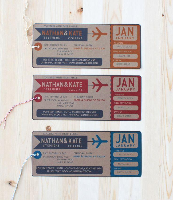 28 best Wedding card images on Pinterest Boarding pass, Wedding - plane ticket invitation template
