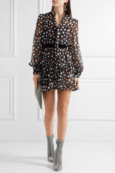 Marc Jacobs - Belted Polka-dot Chiffon Mini Dress - Black - US2