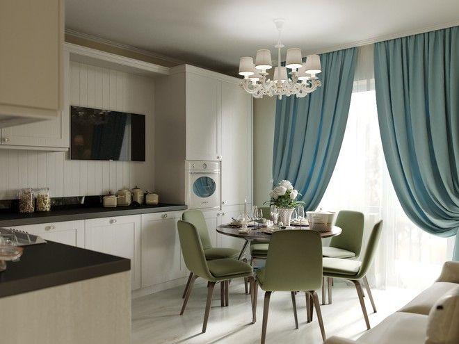 Кухня-гостиная. Интерьер квартиры, классика, ЖК «Пулковский», 50 кв.м.