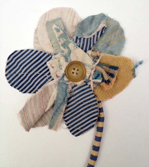 Fabric Flower Brooch/ Fabric Flower Wall Piece enlarge and see stem sewing detail