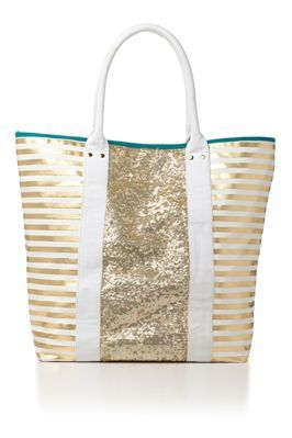 Now that's a classy beach bag. Everything But Water Striped Sequin Tote.