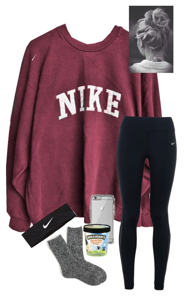 """in class w/ anna!"" by kendallthackston on Polyvore featuring NIKE, J.Crew and OtterBox"
