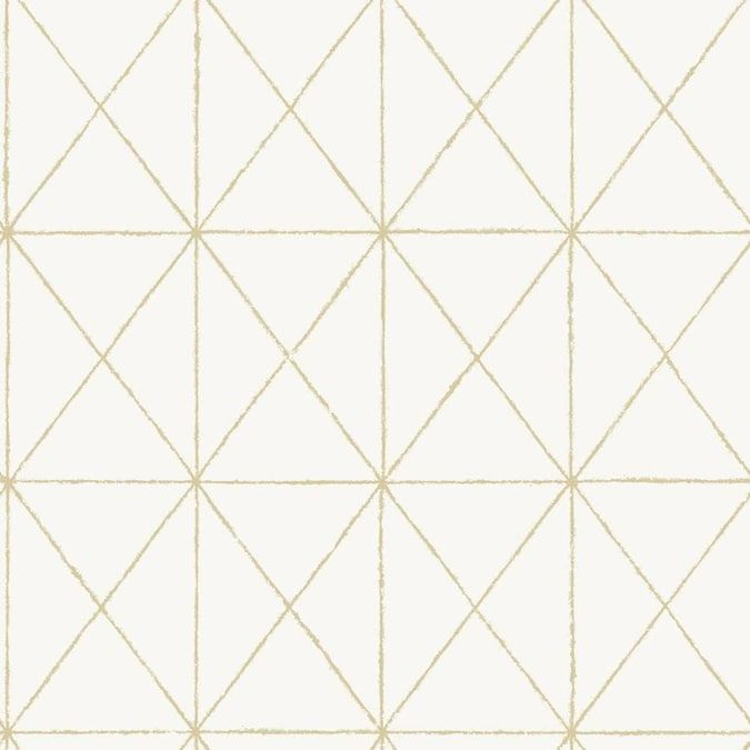 Nuwallpaper White And Gold Get In Line Peel And Stick Wallpaper Lowes Com In 2020 Gold Geometric Wallpaper Geometric Wallpaper Nuwallpaper