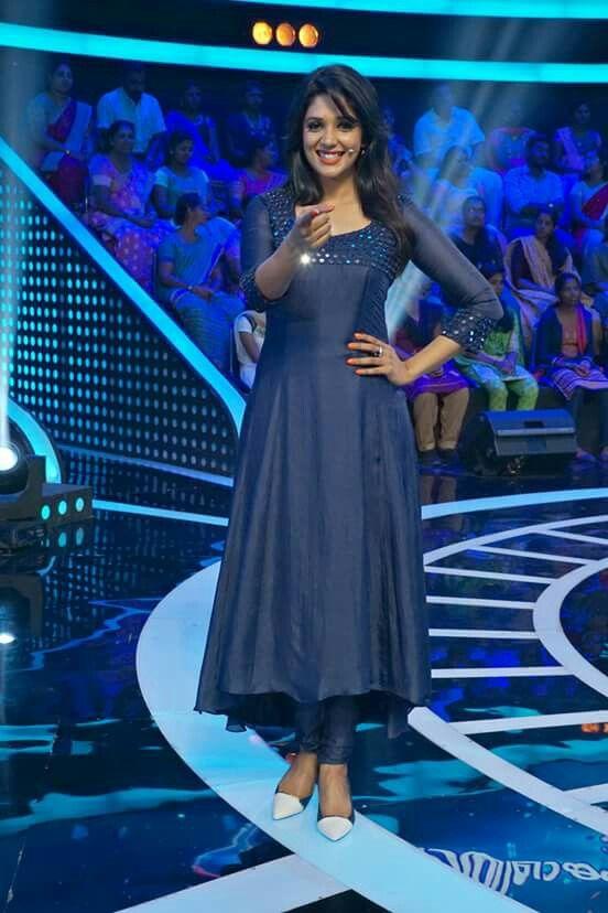 Cute Nyla Usha in blue kurti | mirror work