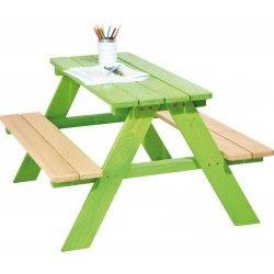 ♡ Pinolino Picknicktafel♡  Groene picknicktafel om lekker aan te eten, te kleuren of te knutselen.  De tafel is gemaakt van massief vurenhout. De afmetingen zijn: L 90 cm, B 85 cm, H 50 cm. De zithoogte is 28 cm. ~Pinolino~