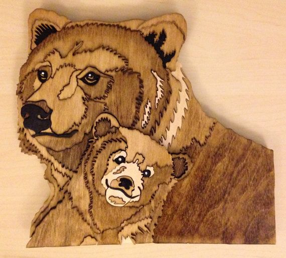 """Adorable bear and cub made from 1/2"""" wood by Wood Art by TAM."""