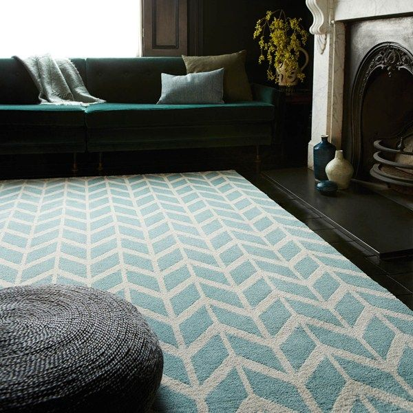 Arlo Chevron Rugs AR05 in Blue - Free UK Delivery - The Rug Seller 200 x 300 £259 Not such good quality as Laura Ashley rug.