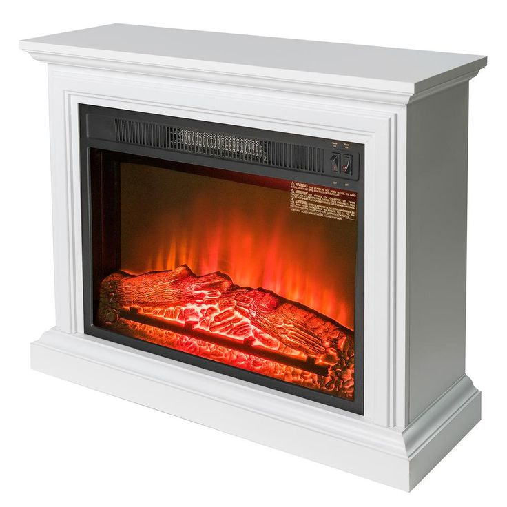 AKDY 31 in. Freestanding Electric Fireplace Heater in White with Wooden Mantel