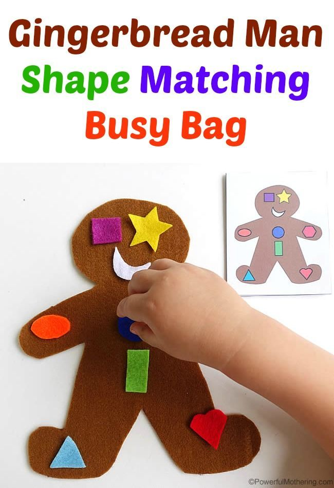 15 holiday busy bags!! This one is a fabulous gingerbread man shape sorter!