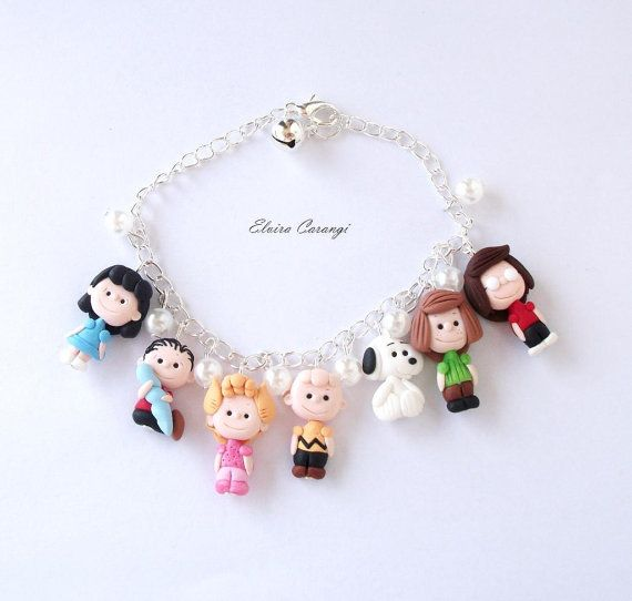 Snoopy, Charlie Brown, Snoopy Armband, Lucy, Linus, Fimo Polymer Clay Cartoon Kreationen handgemachte fimo