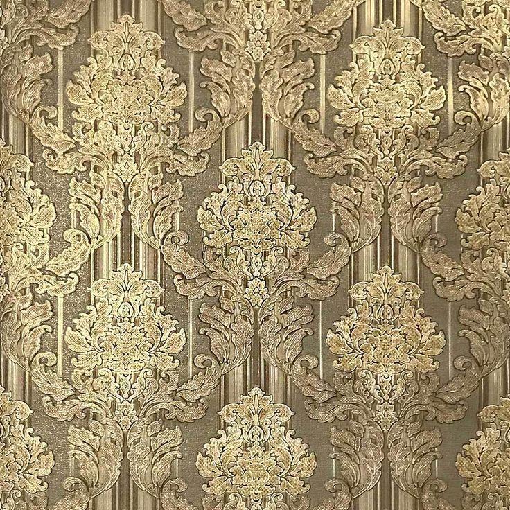 810208 Olive Green Gold Duplex Wallpaper Damask