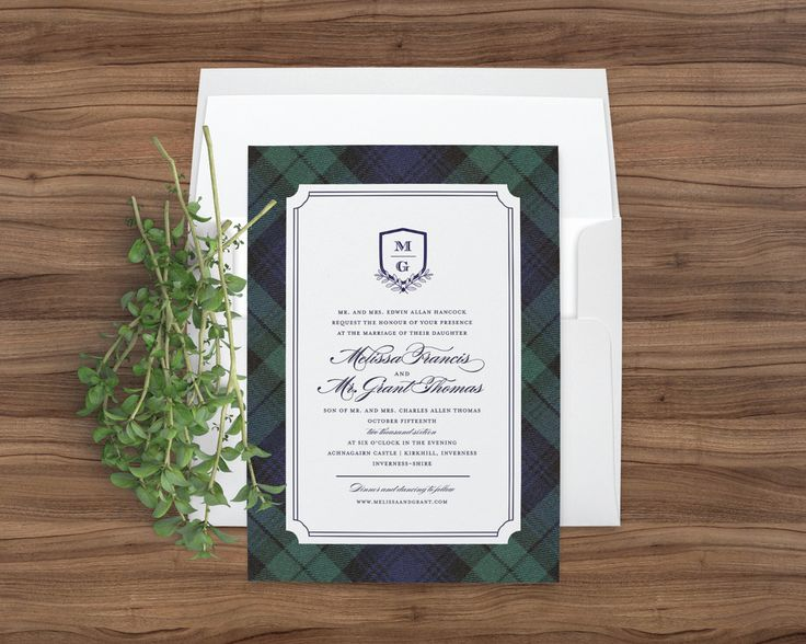 Blackwatch Tartan Wedding Invitations In Navy Blue And Hunter Green Plaid By Little Words Design